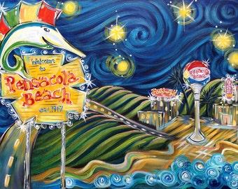 Starry Road to Pensacola Beach, Starry Night Beach Art, City Landmarks, Beach Art, Gulf Coast, Gulf Breeze, Panhandle Wall Decor