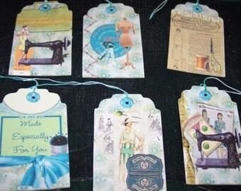 Set of SIX Retro Vintage Sewing Hang tags / Gift Tags
