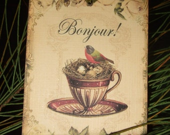 FOUR Vintage French Nesting Bird Tea Cup hang tags / Gift Tags
