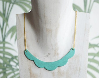 Collar cloud reversible leather/glitter, Turquoise / copper