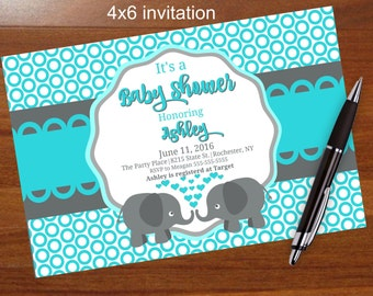 Popular elephant baby shower invitation,blue and gray, blue and grey, printable, shower, social media, facebook Elephant,zebra,giraffe