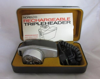"vintage 1980th rechargeable shaving machine by Norelco ""tripleheader vip"""