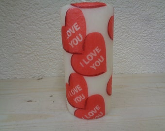 i love you red heart candle