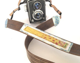 Brown and Blue  Long Camera Strap with Hand Painted Fabric One-of-a-kind