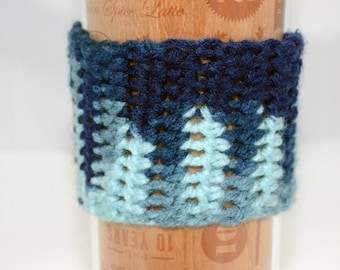 Blue multi-color coffee cup cozy