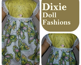 American Handcrafted 18 inch girl Doll Clothes by Dixie ! Butterfly Sparkle Dress