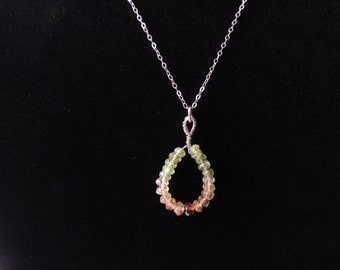 Citrine, Peridot and Sterling Silver Teardrop Pendant Necklace