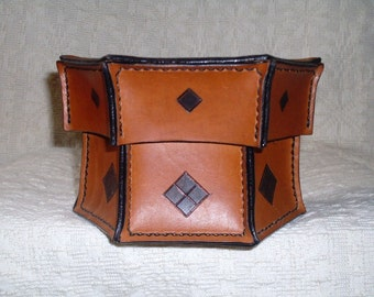 Decorated leather casket, leather box, article for home, leather crafts, leather goods, gift idea