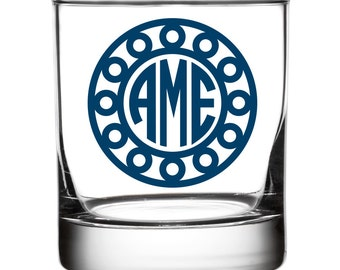 Monogrammed Old Fashioned Glasses - Circle/Circle Design
