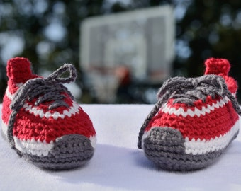 Crochet Baby Boy Shoes, Red Baby Sneakers, Federation Runners, Booties, Photo Prop, Baby Gift