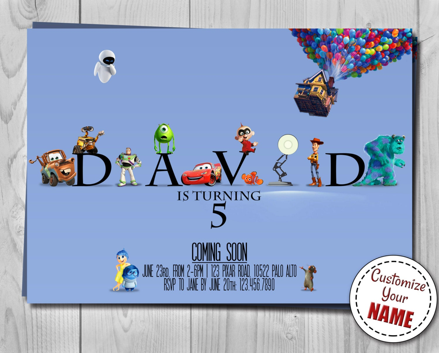 Pixar Logo Invitation Disney Birthday Invite Customizable Name - Birthday invitations inside out