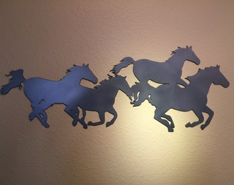 Running Horses Metal Wall Hanging