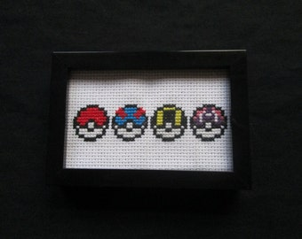 Pokeballs Cross Stitch (Pokemon)