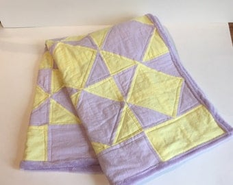 Handmade, baby quilt, Purple and yellow girl quilt, Child Blanket
