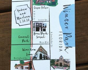 Custom Wedding Map - Winter Park Florida