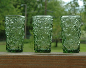 Set of 3 Anchor Hocking  Green Milano - Lido Flat Juice Glasses Bark Textured Glass