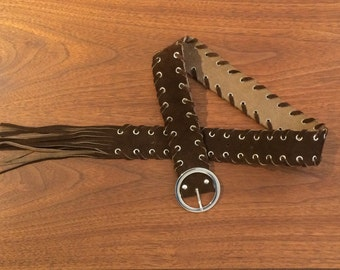 Brown Suede Leather Belt with Fringes