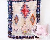 "Vintage Moroccan Boucherouite Rug, ""The Julian,"" Rag Rug, Berber Rug, Entry Rug, Colorful Rug, Bohemian Decor, Pink Rug, Boho Rug"