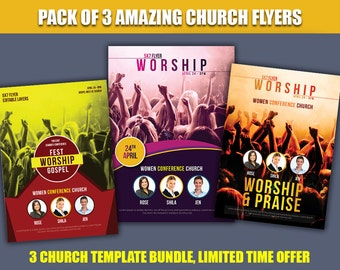 Church flyer, hope, church marketing, art of worship, bundle, Christian, christian flyer - 300 DPI - easy edit - instant download