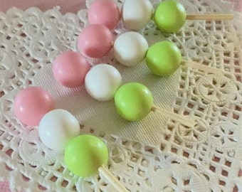 4 Piece Sixlet Stick Polymer Clay Cabochons - Pink, White, Lime Green - Kawaii Decoden Flatback (TDK-C1286)