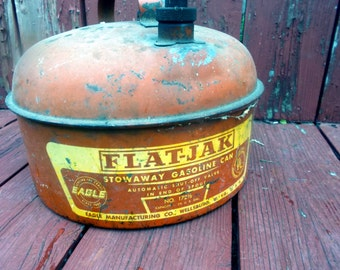 Flat-Jak Stowaway Gasoline Can by Eagle -- Made in the US of A