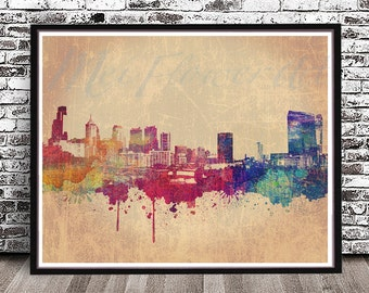 Vintage Philadelphia City Skyline PRINT, watercolor style POSTER, watercolor painting, wall art, Philly Cityscape, Pittsburg Pennsylvania PA