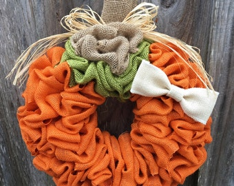 Fall Wreath, Fall Burlap Wreath, Pumpkin Wreath, Pumpkin Burlap Wreath, Orange Wreath, Halloween Wreath, Autumn Wreath