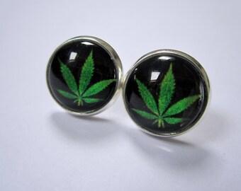 Cannabis leaf cameo stud earrings