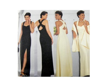 2001 Butterick 6463 Misses' Lined Evening, Formal, Prom Dress and Stole, New, OOP, Uncut, Factory Folded Sewing Pattern Size 6-10
