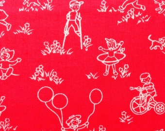 Clearance  Benartex Fabric,  Let's Play #04244, Children playing, red background, by the yard