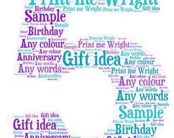 Framed word art, number 5 personalised gift idea, ideal for birthdays, anniversaries