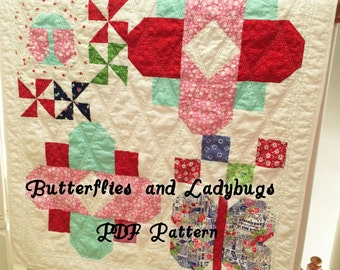 Baby Quilt Pattern, PDF Quilt Pattern, Baby Quilt Pattern PDF, Quilt PDF, Crib Quilt Pattern, Flower Quilt, Ladybug, Butterfly, Girl, Cute