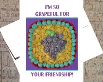 Cute Gratitude Card, Funny Thank You Card, Humor Card, Grape Card, Appreciation Card, Friendship, Cereal, Greeting Card Puns