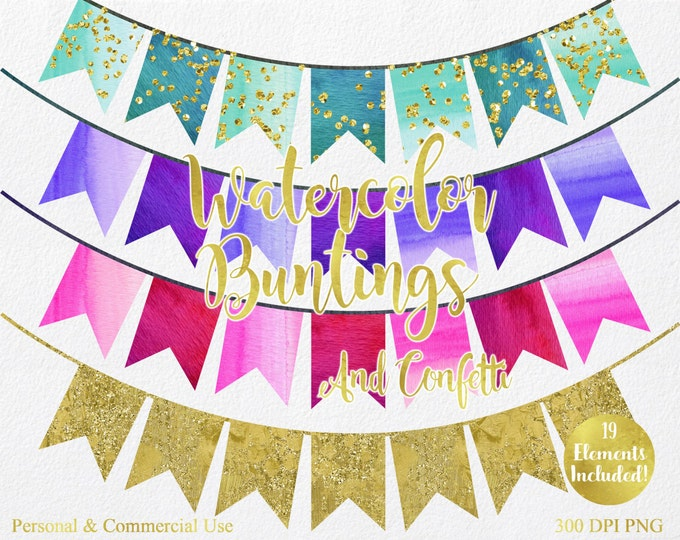 WATERCOLOR BUNTING BANNERS Clipart Commercial Use Clipart 19 Watercolor Flag Banners & Gold Confetti Watercolor Party Invitation Clip Art
