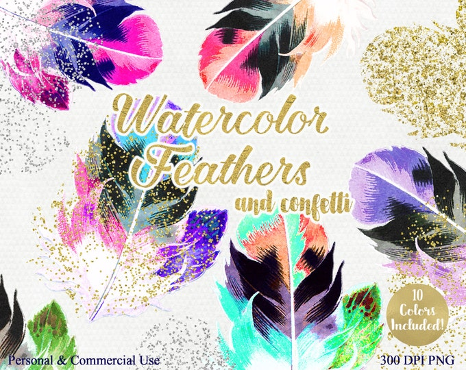 WATERCOLOR FEATHERS Clipart Commercial Use Clip Art Pink Peach Coral Mint Feathers Gold Confetti Watercolor & Gold Feather Graphic Images