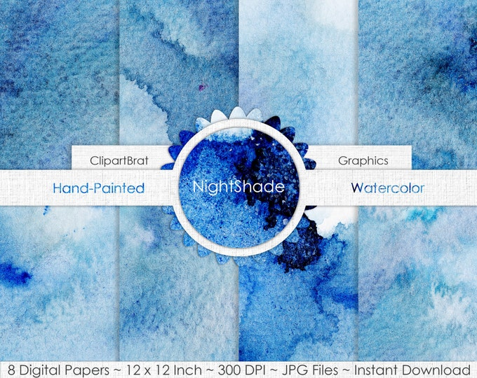 DARK BLUE WATERCOLOR Digital Paper Commercial Use Paper Pack Indigo Blue Watercolor Textures Hand-Painted Real Watercolour Backgrounds