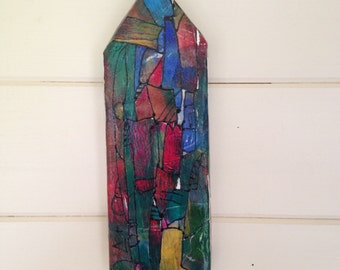 """Unique and original 3 dimensional """"stained glass"""" mixed media collage wall hanging. Wall art. """"Little House"""" collection."""