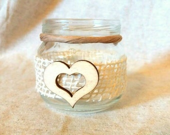 Small jars in glass candle holder Shabby Chic Rustic Country wedding favor centerpieces segnatavoli placeholder