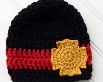 Baby Firefighter Crochet Hat, Newborn Photography Prop, Toddler  Fireman Hat, Firefighter Lives Matter, Thin Red Line, FD Lives Matter