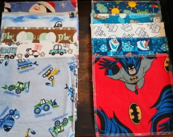10 pack boy print reusable wipes, 2-ply flannel, value pack, batman, olaf, reusable toilet paper