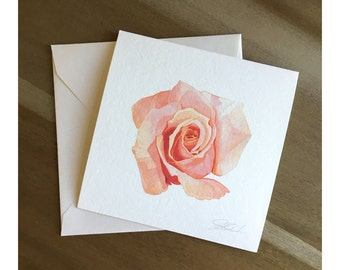 Carly Pink - Watercolor Rose Fine Art Note Card