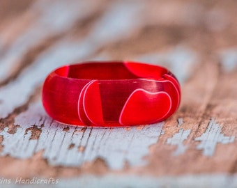 Red and White Acrylic Ring - Valentines Holiday Jewelry Gift Men Women Wedding Engagement Band Couples Rings Plastic Resin Fashion Jewelry