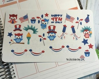 Cute Owl 4th of July stickers. Perfect for any life planner!