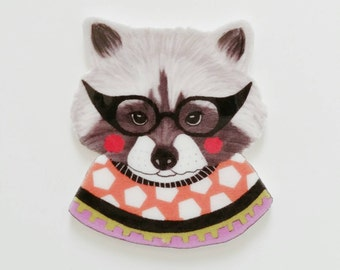 """Brooch // Pin // Racoon // Wearable art // shrink plastic // hand drawn // """"Racoon in a Sweater"""" // quirky jewelry"""