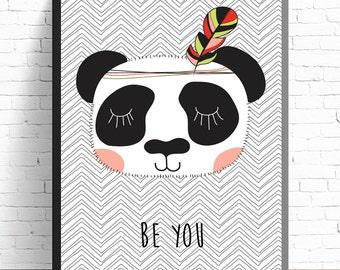 Tribal Bear Print - Girls Nursery Prints - Kids Room Wall Art - A4 Print - 8x10 Print - Be You