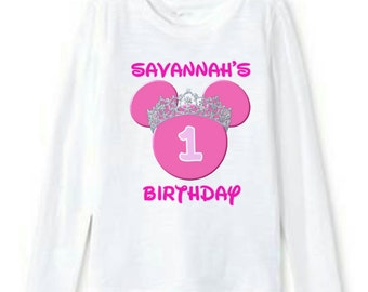 Custom Personalized Minnie Mouse Birthday Shirt