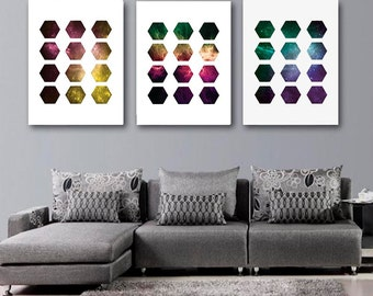 Galaxy Triptych, Scandinavian Art Prints, Set Of Three Prints, Hexagon Prints Printable Art Abstract Art, Digital download, Space Wall Decor