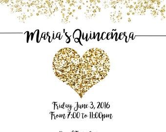Beautiful Quincenera Invitation & RSVP card//Printable digital download