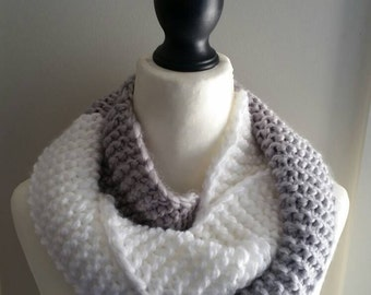 Two-toned, double-wrap infinity scarf. Acrylic yarn. Grey and white. Loop, snood, cowl, neck warmer.
