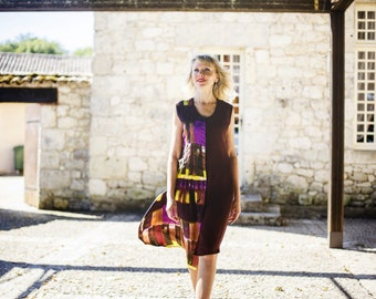 Brown dress pleated
